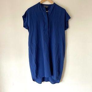 VINCE Blue Silk Short Sleeve Tunic